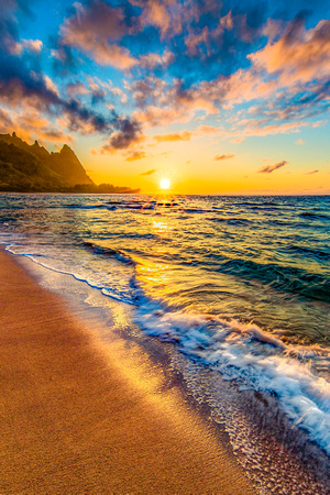 """Tunnel's Beach Sunset"" - Tunnel's Beach, Kauai"
